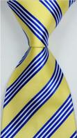gravata listrada branca amarela venda por atacado-Nova marca Clássico Elegante Listrado Azul Amarelo Branco JACQUARD TECIDO Gravata De Seda Gravata csw74