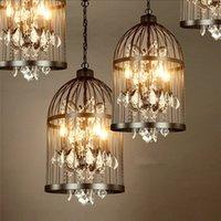 Wholesale Birdcage Iron - Loft Vintage American Rural creative chandelier clothing store restaurant iron pendant light crystal decorate birdcage pendant lamp