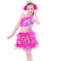 Wholesale Latin Dance Dress Wholesale - 3pcs3color girl Latin dance dress modern dance dress children jazz dance princess bingbing children's clothing 2017 hot sale