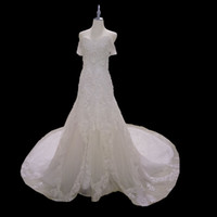 Wholesale Bridal Dresses Handwork - Off the shoulder Mermaid Wedding Dress Gorgeous Handwork Beading Sweep Train Dazzling Vestido De Noiva Bridal Gowns Real Picture