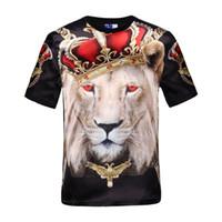 ingrosso occhi lucidi-Mikeal Hot vendita manica corta da uomo lucida rayon 3d t-shirt stampa occhi rossi corona leone Stage Performance T-Shirt estate Top tees