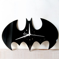 Wholesale Acrylic Wall Mirrors - 2017 New Creative DIY Wall Clock Watch Batman Acrylic Wall Clocks Home Decoration Craft Mirror Wall Stickers Living Room Free Shipping
