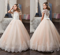 Wholesale Girl Sequin Short Pageant Dresses - 2018 Princess Flower Girls Dresses Lace Appliqued Delicate Beaded Sequins Short Sleeve Ball Gown Floor Length Girls Pageant Birthday Gowns