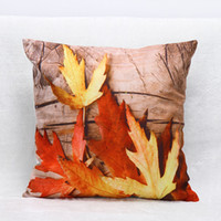 Wholesale Yellow Decorative Pillow Covers - Creative Fall Pillow Cushion Cover 3D Maple Leaves Pillowcase For Home Living Room Sofa Decorative Pillowslip 7hj C R