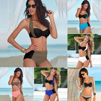 Wholesale wholesale high waisted swimwear online - 2017 New Sexy Bikinis Women Swimsuit High Waisted Bathing Suits Swim Halter Push Up Bikini Set Plus Size Swimwear