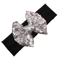 Wholesale Elastic Hair Band Shine - Wholesale- Newly Design Baby Girl Bling Bling Shining Headbands Elastic Hair Bands Kids Children Sequins Bow Hair Accessories Aug4
