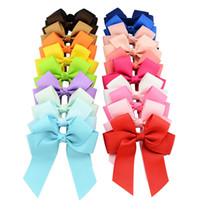 Wholesale China Hair Ribbon - Big Discount 20 Colors 20pcs lot High Quality Grosgrain Ribbon Bows With Clip Boutique Bow Hair Accessories Girl Pinwheel Cheer Bow YL617