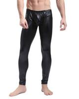 Wholesale Pole Dance Pants - Black Red Men Faux Leather Skinny Pencil Pants Stretch Leggings Sexy Trousers Pole Dance Stage Clubwear