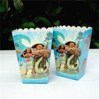 Wholesale Wholesale Favor Boxes Princess - 60pcs Lot Trolls Poppy Party Popcorn Box Elsa Moana Sofia Princess Avengers Spiderman Party Favor Boxes + 20pcs Tattoo Sticker