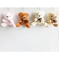 7cm Teddy Bear Cartoon Stuffed Toy Plush Toy Pendentif Porte-clés Porte-clés de voiture pour sac en coller Wedding Christmas Gift