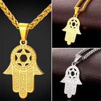 Wholesale Halloween Star David - U7 Star of David in Hamsa Hand Lucky Pendant Necklace Stainless Steel 18K Real Gold Plated Fashion Unisex Jewelry Perfect Gift Accessories