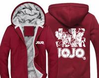 Wholesale Hoody Zip Sleeve - Anime JOJO'S BIZARRE ADVENTURE Hoodie JOJO Logo Print Hoody Mens Winter Casual Thicken Fleece Zip Up Sweatshirt Coat US S-3XL