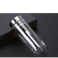 Wholesale Drink Bottle Filters - 1PC 300ml Double glass cup with transparent filter and lid high temperature resistant glass water bottle J1463