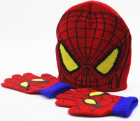 Wholesale children gloves hat sets resale online - Children Beanies Cap Hats Sets Spider Man Knitted Crochet Baby Boys Girls Cartoon Kids Winter Warm Gloves Fashion Accessory XMAS Gifts