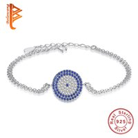 809a5c5b644 BELAWANG Wholesale 925 Sterling Silver Double Link Chains Bracelets Turkey  Evil Eye Bracelet with Blue Crystal for Women Christmas Day Gift