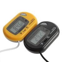 fio digital venda por atacado-Temperatura Digital do tanque do termômetro dos termômetros do aquário das temperaturas de Mini Digitas com sensor prendido