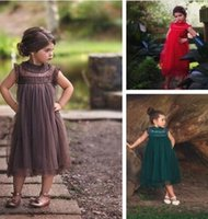 Wholesale Dressed Bottles - Girls princess dress 2017 children lace fly sleeve tulle dress kids party dress girls lace princess dresses Ball Gown kids clothing A0543