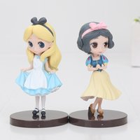 Wholesale Alice Wonderland Toy Set - 2pcs set 8cm Q posket Cartoon Alice in Wonderland Alice Snow White Princess PVC Action Figure Anime Dolls kids toys