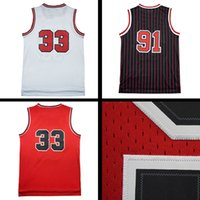 Wholesale Mesh Embroidery - Throwback Mesh Dennis Rodman 91# Jerseys Throwback Mesh Scottie Pippen #33 Jersey Jerseys sales embroidery Logos free shipping