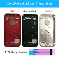 Wholesale Button Stickers For Iphone - For iPhone 5 5G 5S like 7 Style Back Housing Alloy Metal Housing For iPhone 7 mini Back Battery Cover Buttons+Battery stickers