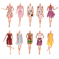 Wholesale Doll Dress Toys - Blend of styles 10pcs lot dress mini dress for barbie doll handmade for barbie dolls party thin clothing dresses accessories