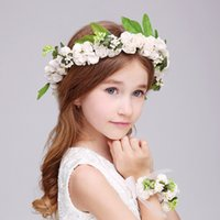 Wholesale girl with flower crown resale online - Bohemia Flower Girl Sea Beach Wreath Headdress With Bracelet Girls Garlands Photography Children Hair Accessories Crown Veil Headpiece A6635