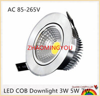 Barato 3w Cob Led Downlight-20PCS Super brilhante Dimmable Led Downlight luz COB teto Spot Light 3W 5W 7W LED teto recesso luzes Iluminação interior