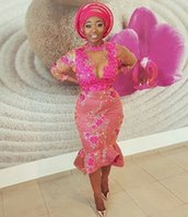 Wholesale Purple Falbala - Aso Ebi 2K17 Plus Size Prom Dresses Jewel handmade Appliques falbala Illusion 3 4 Long Sleeves Evening Gowns African Black Party Dress