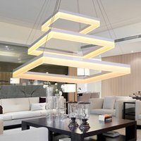 Wholesale bright hotels - Modern LED Rectangle Pendant Lamp LED Chandeliers Fixture Gold Dining Room Living Room Bright LED Lamp Acrylic Ceiling Light Warm White