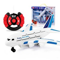 Unisex 5-7 Years Plastic Airbus model, steering wheel two pass, remote control aircraft, light music, electric children's toys wholesale