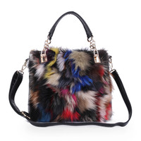 Wholesale Fox Fur Purse - Winter Multicolor Fox Fur Women Handbags Lady Fur Shoulder Bags Day Clutch Bags Envelope Party Purse Leather Clutch Evening Bag