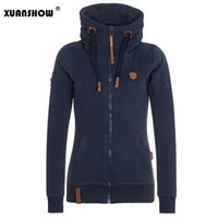 Wholesale Collared Hoodies Girls - Wholesale- 2017 Womens Fashion Fleeces Hoodies Ladies Sweatshirts Casual Girls Tracksuits Solid Long Sleeve Zip Up Clothing Plus Size S-5XL