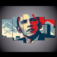 Wholesale Presidents Pictures - 5 Pcs Set HD Printed President Barack Obama Painting Canvas Print room decor print poster picture canvas Free shipping NY-6291