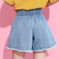Wholesale Korean Style Large Size Woman - 2017 Korean summer fashion new solid color loose large size elastic waist wide leg denim shorts women V16005