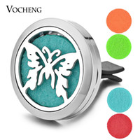 Wholesale Magnetic Butterflies - Car Aromatherapy Locket Diffuser Vent Clip 316L Stainless Steel Butterfly Pendant Magnetic without Felt Pads VA-307