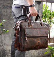 Vente en gros- Hommes Genuine fou cheval Leather Antique Style Briefcases Business 16