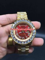 Wholesale Face Shell - AAA big diamond automatic men's watch brand, high-quality stainless steel gold shell red face size 43mm. free delivery