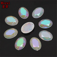 Wholesale Plastic Oval Beads - 100PCS 13*18mm new AB Jelly Oval Acrylic Rhinestones Flat Back Acrylic Beads Sew on 2 HOLE ZZ19