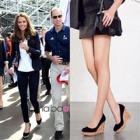 Wholesale Kate Middleton Fashion Style - Women Fashion Genuine Leather Wedges Shoes High Heel Suede Pump Kate Middleton Same Style Wedges High-heeled Shoes Platform Pump