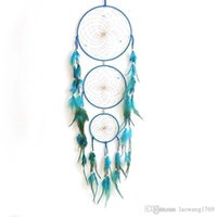 Stile indiano a mano blu Dream Catcher rete circolare con piume Wall Hanging Decoration Decor Craft Gift Dream