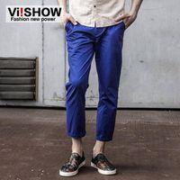 Wholesale Korean Casual Trousers For Men - Wholesale- Viishow Korean Style Pants Men's Casual Solid Blue Long Pants Men Jogger Slim Fit Straight Trousers for Men