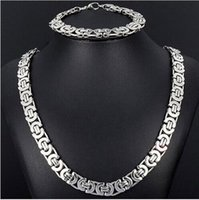 Wholesale Silver Tone Pendant Setting - 2017 Men Jewelry Jewlery Set 8mm Silver Tone Flat byzantine chain necklace & bracelet 316L Stainless Steel Bling