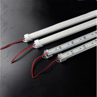 "Wholesale Strip Led Rigid 12v - 50X Hard LED Strip 5630 SMD Cool Warm White Rigid Bar 72 LEDs 3500 Lumen LED Bar Light With ""u"" Style Shell Housing With End Cap + PC Cover"