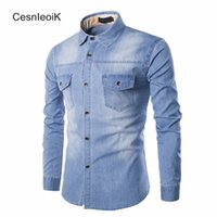 Wholesale Denim Shirt Mens - Wholesale- Mens Refreshing Leisure Yong Style Man Clothes Full Sleeves Stylish Washed Denim Fabric Slim Fit Cotton Denim Shirts Hombre B093