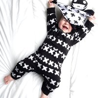 Wholesale organic baby clothes free shipping - 2017 the latest men and women baby printing cross clothes can let the baby crawling clothes free shipping