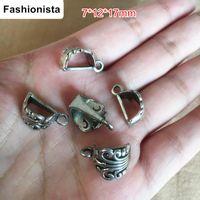 Wholesale Filigree Antique Rings - 60 Slider Bails Antique Silver Antique Bronze Filigree Pendant Holder with Ring Loop 7*12*17mm DIY Vintage Jewelry Findings