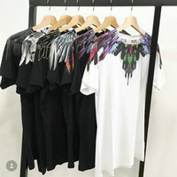 Wholesale White Tee Women - Marcelo Burlon T Shirts Men Women Italy County Of Milan Feather Wings MB T-shirt RODEO MAGAZINE Tee Marcelo Burlon T Shirts