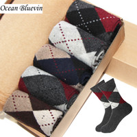 Wholesale Thick Knit - Rabbit Wool Quality Knitted Men Socks Autumn Winter Warm Thick Style Business Casual Dotted Line Rhombus Pattern Soft Sock Meias
