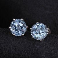 Wholesale Natural Blue Tanzanite - Stud Earrings Palace Natural Blue Topaz Earrings Stud Genuine 925 Sterling Silver Jewelry New Women Jewelry Outstanding Fine Jewelry