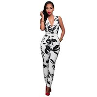 Wholesale Bodywear Women - New Fashion Sexy Women's Bodycon Bodysuit with Halter Bodywear Jumpsuits Rompers Print Sleeveless Backless Party Women Clothes Dress